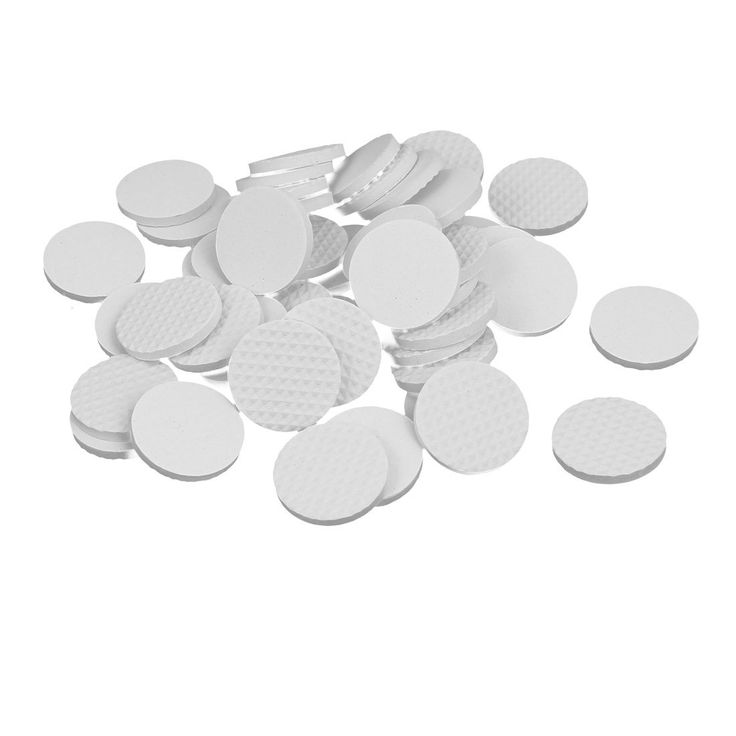 30mm Dia Rubber Self Adhesive Anti-Skid Furniture Protection Pads White 48pcs