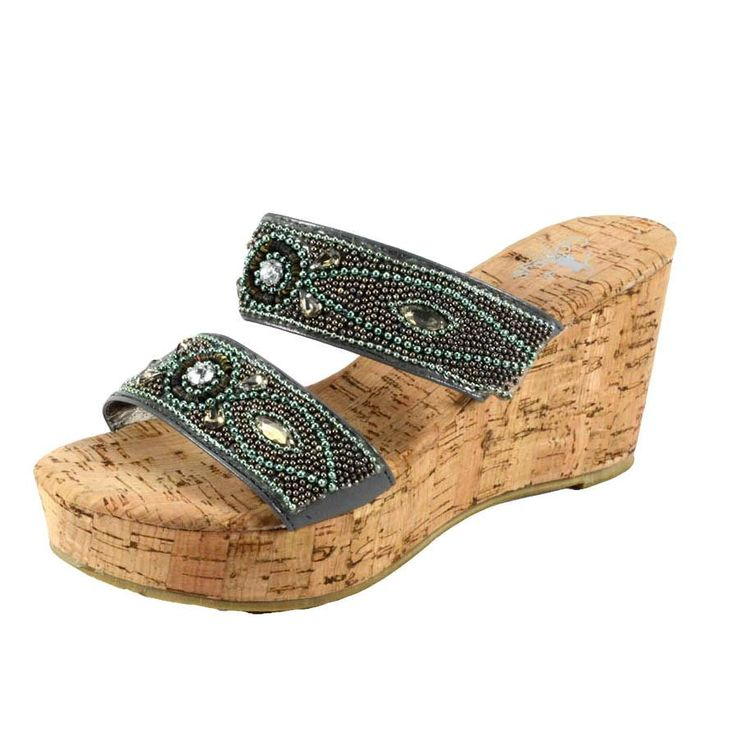 Corkys Wedge Brushed Pewter Sandals