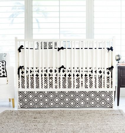 "Our Black Swiss Cross 17"" tailored skirt is made of Black and White Diamond fabric. Coordinate with our collection of Cotton Crib Sheets. Crib skirts are made with split corners for easy placement ins"