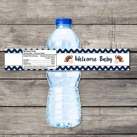 Sports Baby Shower Water Bottle Labels for Baby Shower - Sports Invitation - Baby Shower Favors - Boy 225