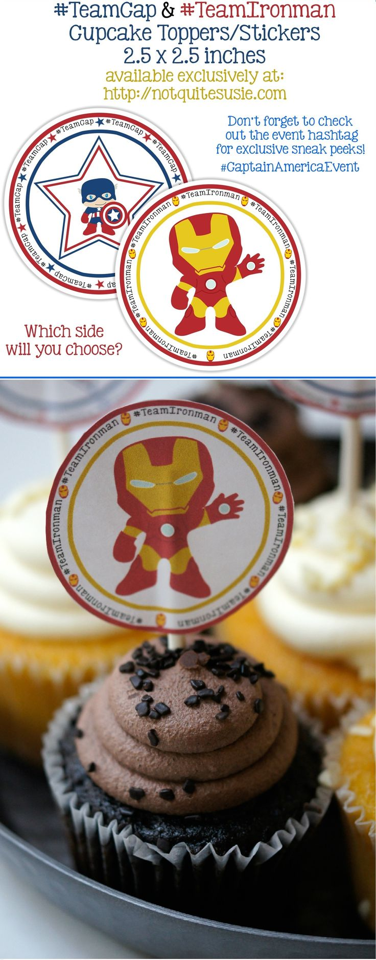 Free Printable Cupcake Toppers for Captain America: Civil War! Whether you're Team Cap or Team Iron Man, make your cupcakes a little more super with these free printables!