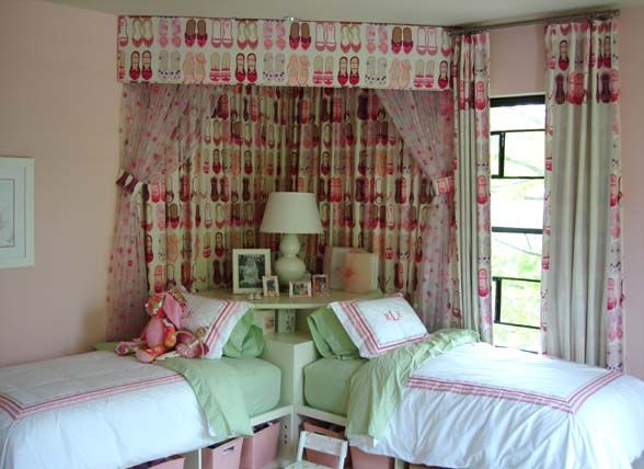 Designer Libby Langdon created this girls bedroom for a pair of Hamptons princesses with ballet slipper fabric and plenty of storage under the beds.