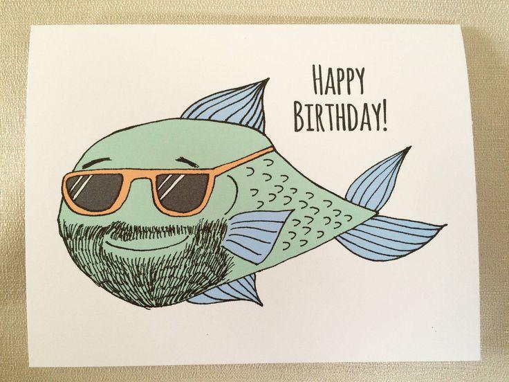 Fish Birthday Card, fisherman birthday, birthday card man, bearded man card, male birthday, bearded dad, fish lovers card, funny fish card by MadeByDianaLou on Etsy