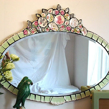 Boudoir Rose Mosaic Mirror by Anna Tilson. Love the vintagy, romantic style of this.