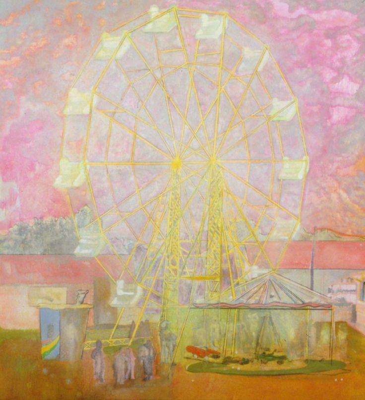 Peter Doig - Rainbow Wheel, 1999. Oil on canvas, 78 × 73 1/4 in, 198.1 × 186.1 cm.