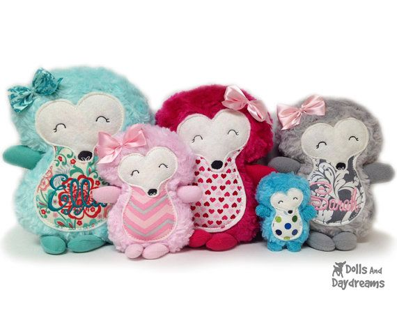 Hedgehog Embroidery Machine ITH Sewing Pattern Woodland Softie Stuffie Plush Toy Quick Easy on Etsy, $10.99