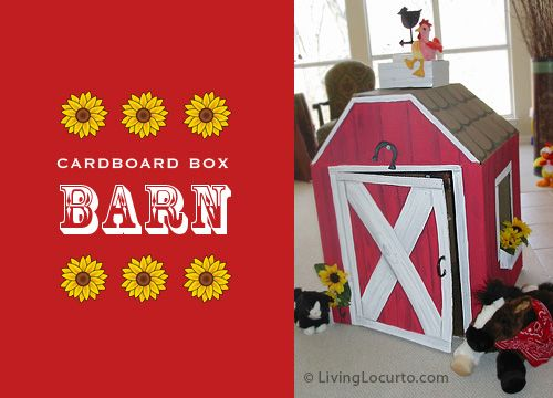 Cute DIY Cardboard Box Barn by Amy Locurto at LivingLocurto.com: Cardboard Boxes, Birthday Parties, For Kids, Boxes Barns, Farms Parties, Barnyard Birthday, Parties Ideas, Farms Theme, Red Barns