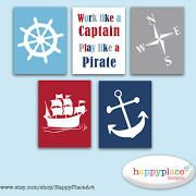Work Like a Captain Play Like a Pirate Print Set of 5. Navy Red & White Pirate or Nautical Images. Boys Pirate Bedroom Decor Wall Art Poster