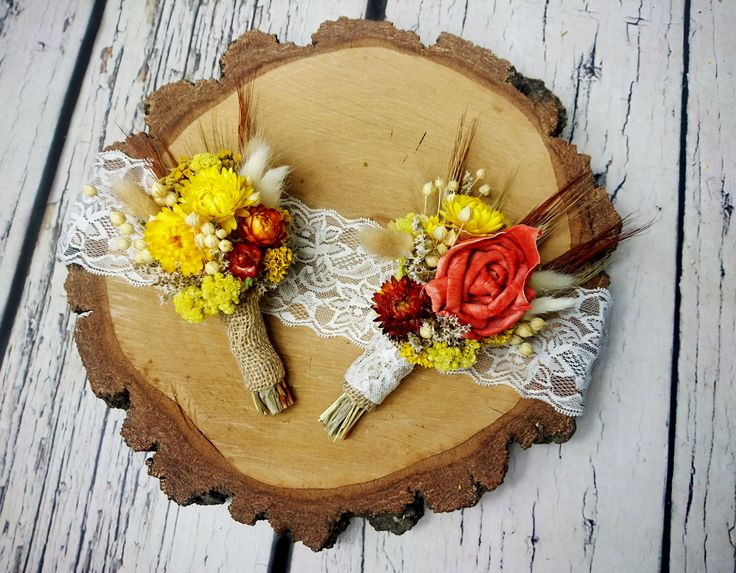 Wheat grain dried flowers boutonniere straw flowers grasses orange yellow rustic autumn fall harvest wedding burlap thanksgiving