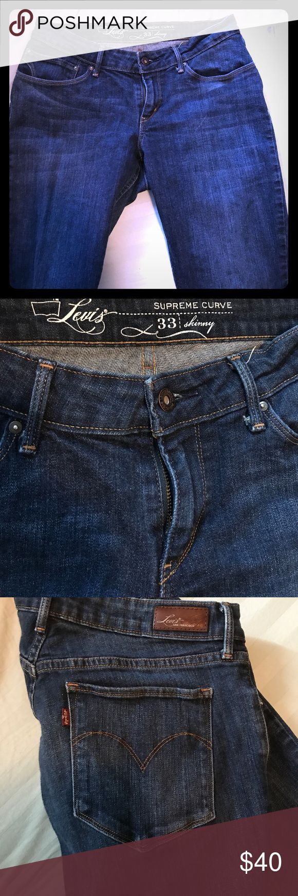 Levi's Supreme Curve Skinny Jeans Lots of life left in these, the fit is great for someone with a small waist and bigger but/hips. Someone that always has a waist gap, issues with underwear showing when they sit down. So shimmy in and let those curves work! Levi's Jeans Skinny
