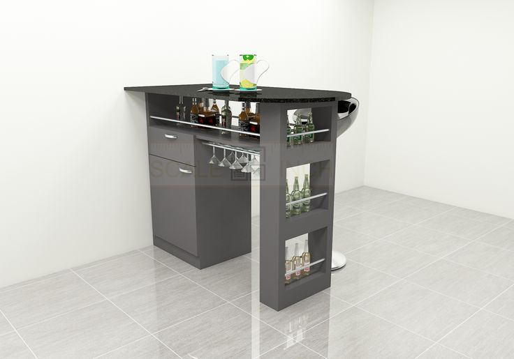 Cute and simple structured bar counter offering appealing look. Made up of plywood with laminate finish. The bottle racks and the storage cabinets offers a tidy look and brings the space a party effect The color combination adds effective look with the table top providing ample space for partying.  Add an opulent to your home and bring the entire space a fashionable look with Scale Inch.