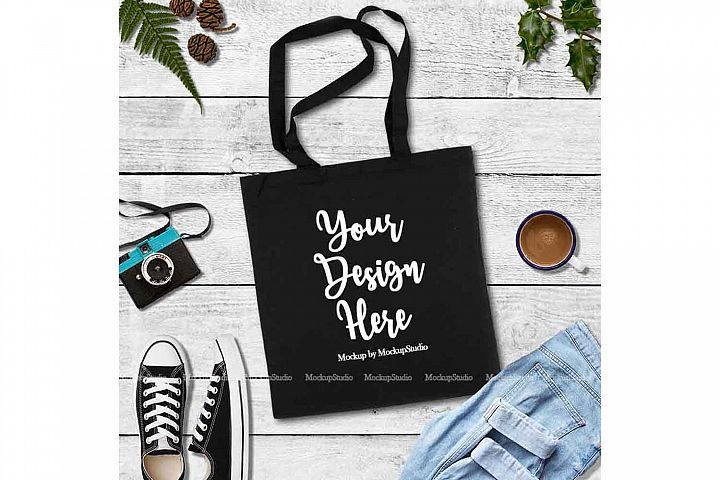 Download Black Tote Bag Mock Up Canvas Fall Tote Flat Lay Display 143945 Clothing Design Bundles Black Tote Bag Fall Tote Black Tote