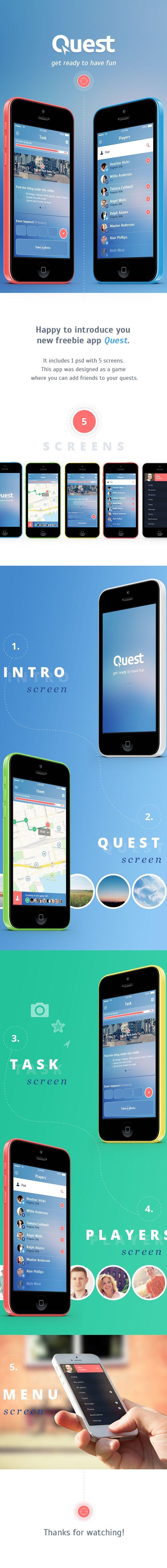 Quest. Free iOS7 App by Olia Gozha, via Behance