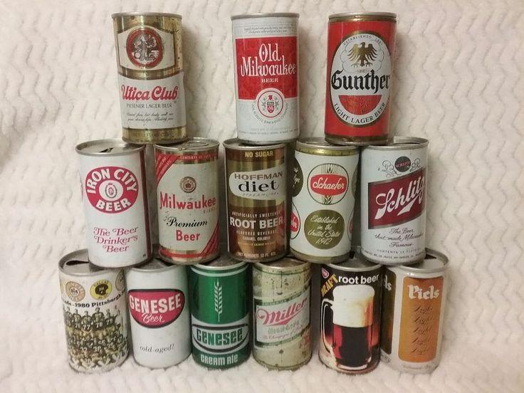 Lot of 14 Assorted Vintage Beer Cans Milwaukee Genesee Miller Iron City Beer #Miller