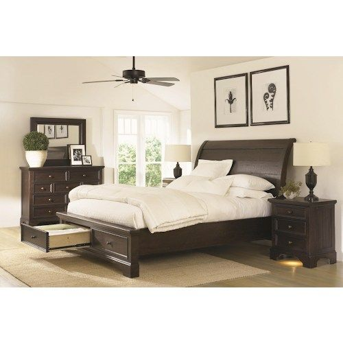 Morris home furnishings burlington king sleigh bed with for Furniture burlington wa