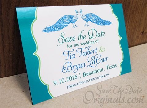 Peacock Wedding Save The Date Magnet Design In Blues And Greens