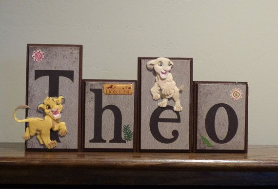 Name Blocks The Lion King Custom Wooden Block Letters, Baby Nursery Name Sign, Boy Bedroom Decor Boy Gift Idea