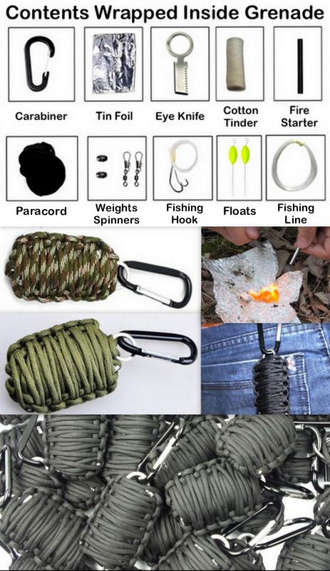 """Paracord """"Grenade"""" Survival Kit! Inside you will find- Tin Foil, Eye Knife, Cotton Tinder, Fire Starter, Weights, Spinners, Fishing Hooks, Floats and Fishing Line, all wrapped up in paracord with a carabiner. Clips perfectly on your backpack or keychain!"""
