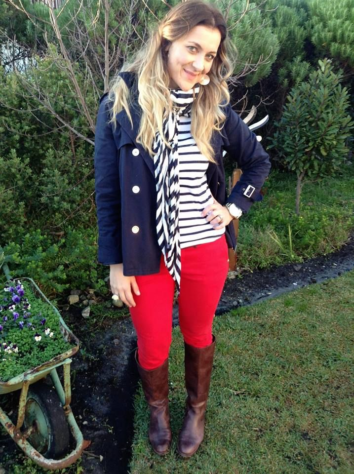 Nautical look: red skinnies: Woolworths, boots:Studio W, striped scarf: Trenery, striped top: Zara, Jacket: Mango