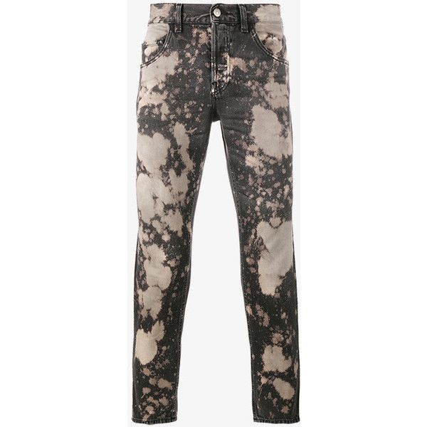 Gucci Acid-Washed Slim-Fit Jeans ($725) ❤ liked on Polyvore featuring men's fashion, men's clothing, men's jeans, gucci mens jeans, mens slim jeans, mens acid wash jeans, mens slim fit jeans and mens denim jeans