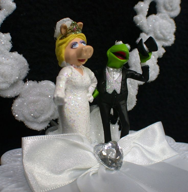 Kermit And Miss Piggy Cake Toppers