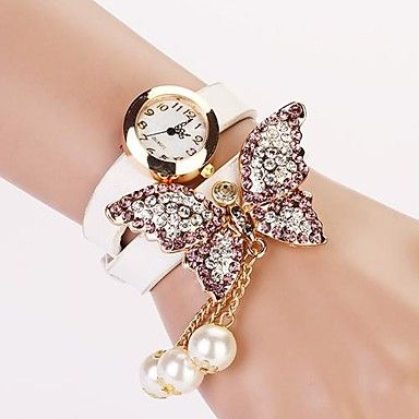 Women's White Dial Diamond Two-layer Band Butterfly Pearl Pendant  Fashion Quartz Bracelet Watch  (Assorted Color) - USD $ 6.99