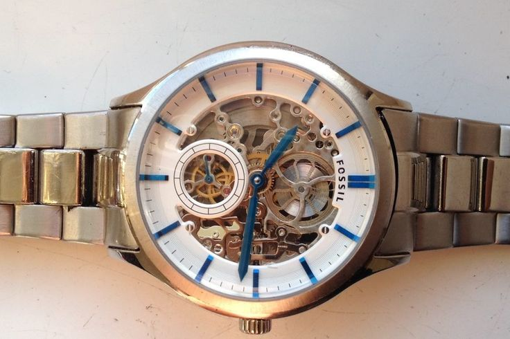 AUCTIONS ENDING ON WEDNESDAY 29 MARCH FROM 8pm NEW AUCTIONS STARTING FROM 8pm........MENS FOSSIL ME3021 SKELETON STAINLESS STEEL AUTOMATIC WATCH FOR SPARES REPAIRS