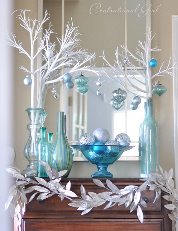 A Blue Christmas - winter entry vignette from Centsational Girl