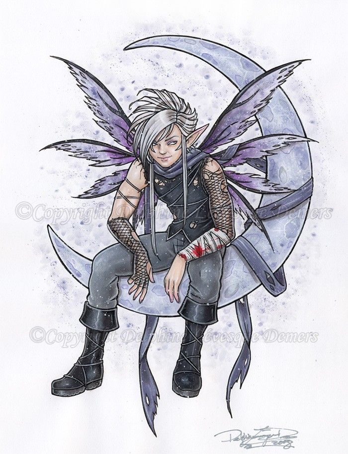 Night Lover Male Fairy Fantasy art print by Delphine Levesque Demers 8.5 x 11. $12.00, via Etsy.