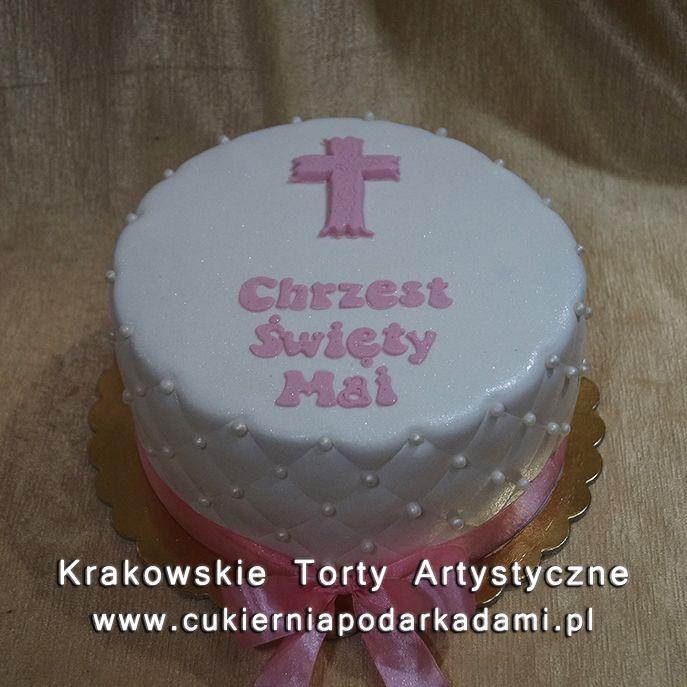 054. Biały tort z różowym krzyżem na chrzest dziewczynki. White cake with pink cross for baptism.
