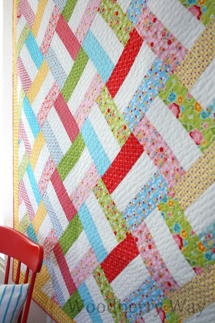 Easy Strip Quilt Pattern from WoodberryWay...