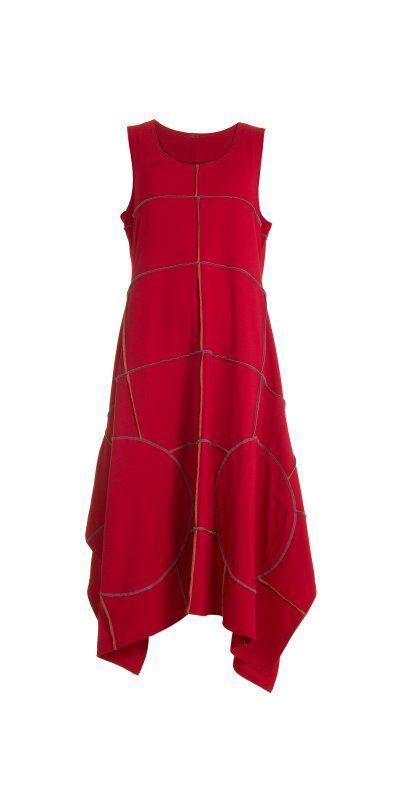 Idaretobe.com Красный Декоративные шва Flared платье - Idaretobe.com от idaretobe.com Великобритания