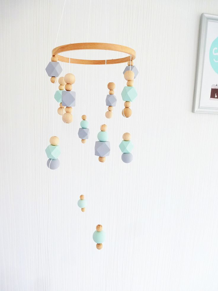 Wooden beads Baby mobile in Scandinavian style. Ecofriendly.