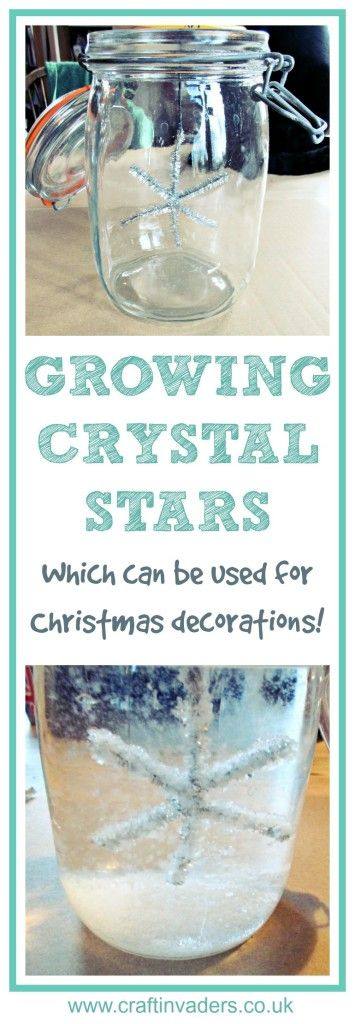 Growing Crystals is a really fun project to do at home, here we show you how we made our own Christmas snowflakes to hang on our Christmas tree - the crystals form so quickly you only have to leave them overnight!
