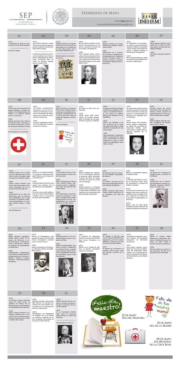 EFEMÉRIDES DE MAYO INEHRM SEP  Efemérides mexicanas correspondientes al mes de mayo publicadas por el Instituto Nacional Estudios Históricos de las Revoluciones de México de la Secretaría de Educación Pública.