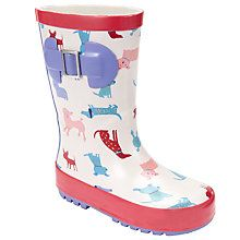 Buy John Lewis Children's Paris Dogs Wellington Boots, Cream/Multi Online at johnlewis.com