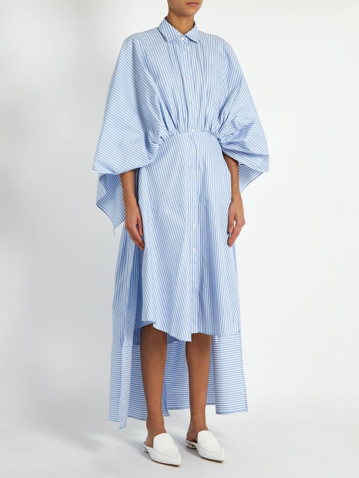 Open-back gathered-waist striped shirtdress | palmer//harding | MATCHESFASHION.COM