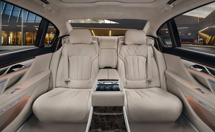 What do you think of the #Luxurious Rear Executive Lounge in exclusive Ivory White Nappa leather & Dark Grey Poplar wood trim? #BMW #7Series #FieldsBMW #BMW