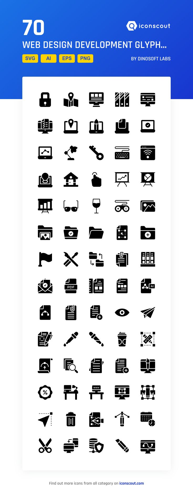 Web Design Development Glyphs Icons  Icon Pack - 70 Solid Icons
