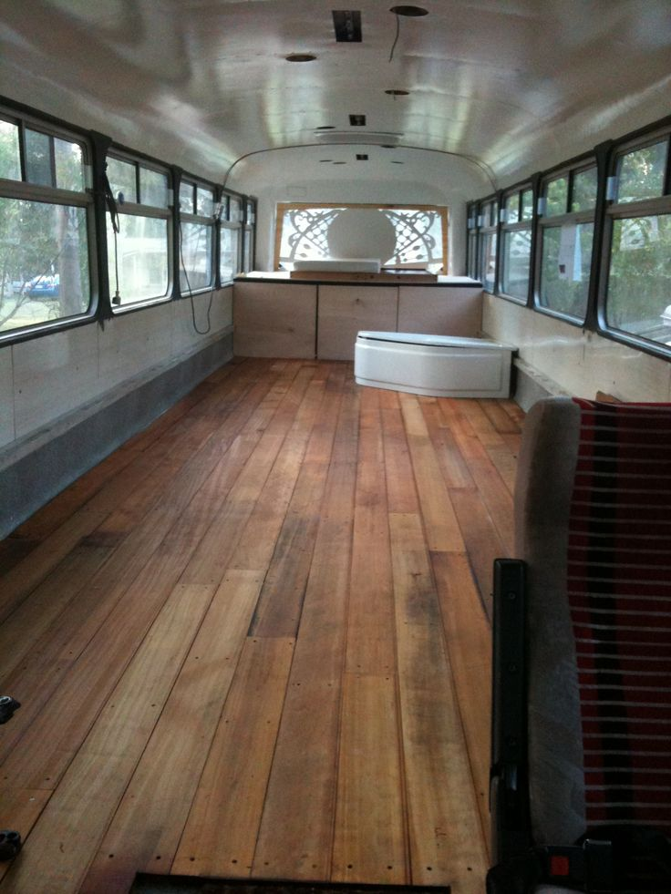 My Special Bus Project, Floor, bed base, window art, Bath....not installed.