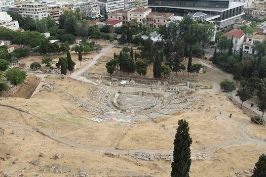 Beautiful shot of the Theatre of Dionysus, one of the most important ancient Greek theatres, that lies in a natural setting on the southern slopes of the Acropolis Hill. #Athens #vacation #travel #traveling #Ancient