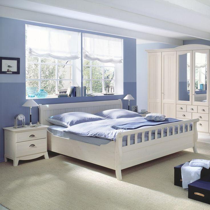 Schlafzimmer Set aus Fichte Massivholz in Weiß - Sunset