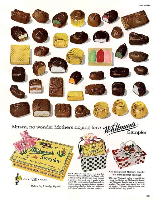 A detailed, scrumptious look at the chocolates in Whitman's Sampler back on 1955.