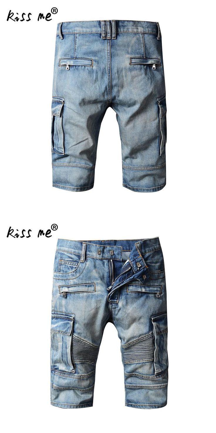 kiss me men cargo shorts bermuda homme male fashion shorts Big pocket Washed denim men jeans shorts praia masculino