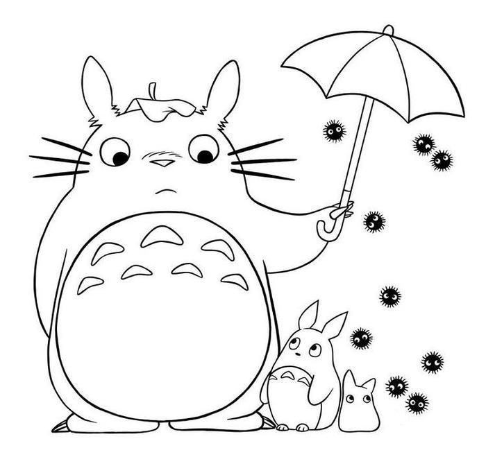 Totoro And Umbrella Coloring Pages Totoro Drawing Totoro Art Totoro Crafts