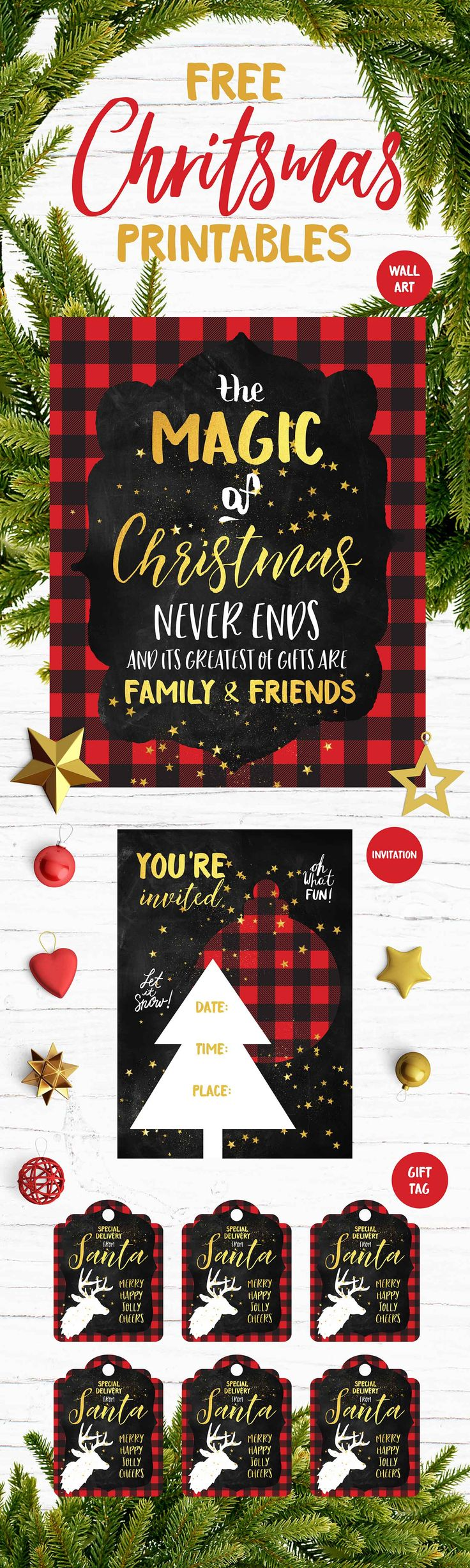 FREE Christmas Wall Art, Invitations and Gift Tags