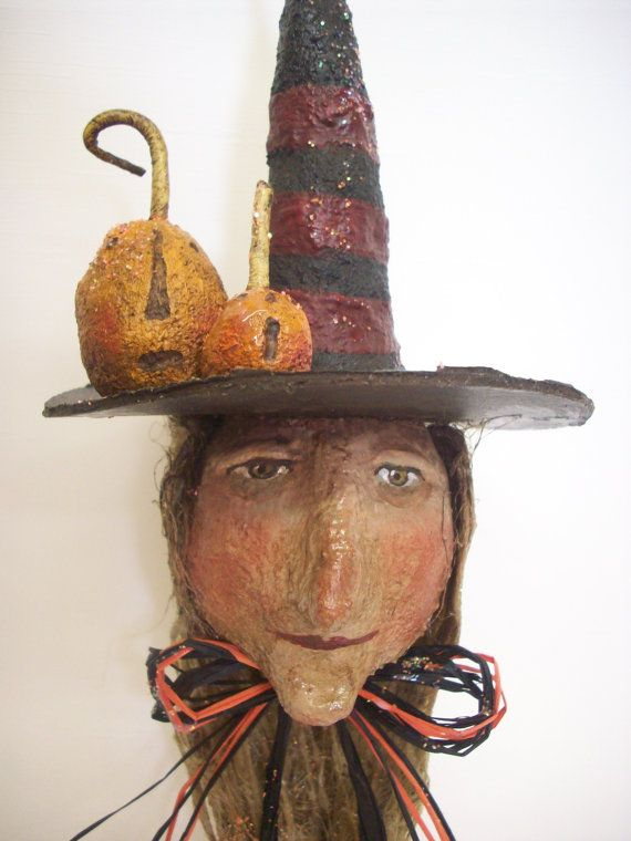 Primitive Paper Mache Folk Art Witch Head by papiermoonprimitives, $45.00