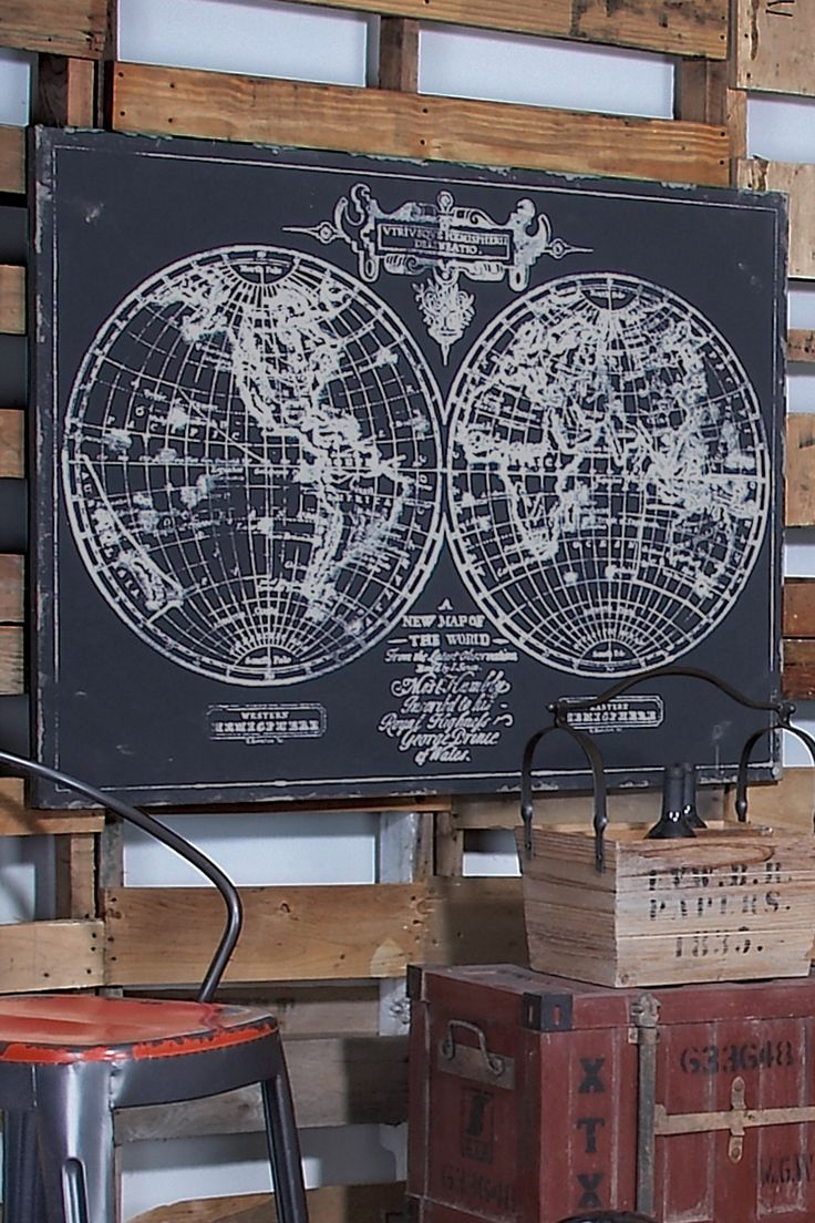 chalkboard / map art = LOVE it! This would be perfect for my office!