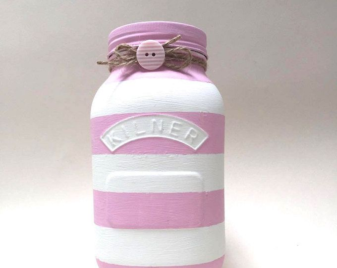 Hand painted Kilner Jar with pink and white stripes
