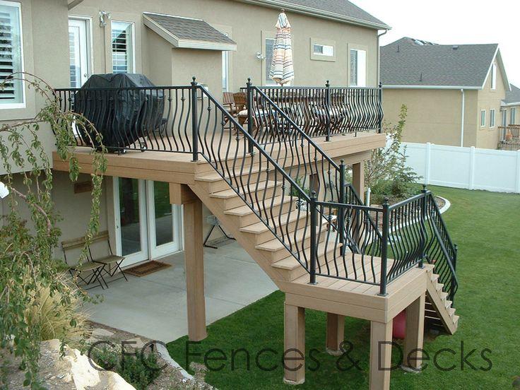 Second Story Trex Saddle With Ornamental Iron Railings Cfc Fences Decks Provo Ut